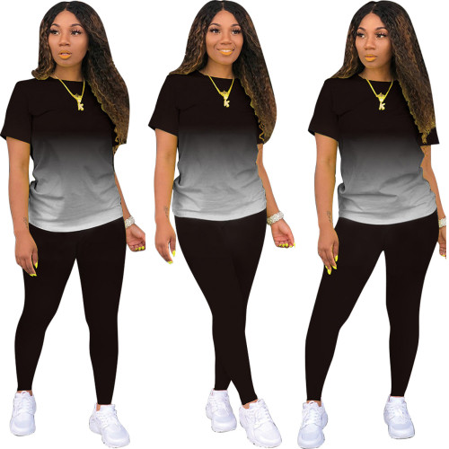 Boutique hot style classic casual solid color gradient long and short sleeve two-piece suit