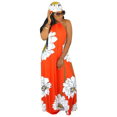 Boutique hot style lotus print sling halter dress with headscarf
