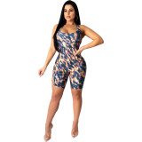 Hot boutique camouflage flame contrast lace sexy jumpsuit