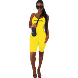Boutique hot style European and American solid color tight-fitting halter bodysuit