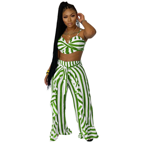 Green Two-piece set striped print with belt