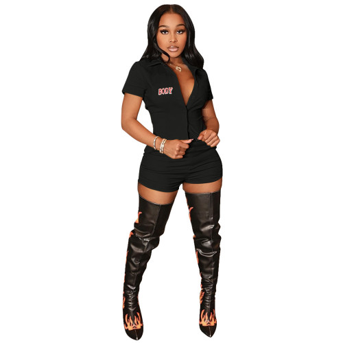 Black Casual sports body print cardigan two-piece suit
