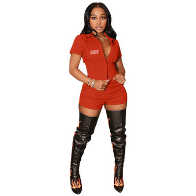 Red Casual sports body print cardigan two-piece suit