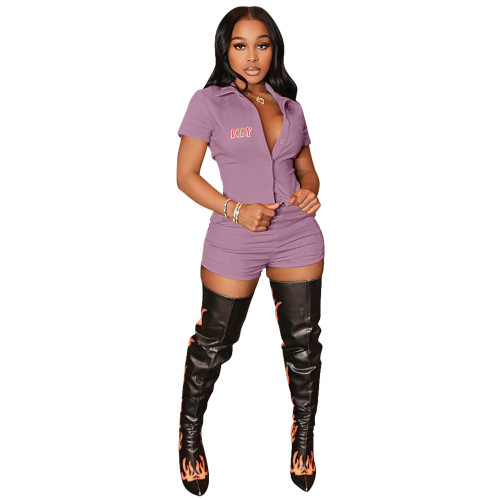 Purple  Casual sports body print cardigan two-piece suit