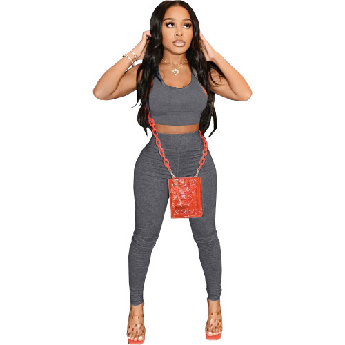 Gray Pure color sexy yoga wear home wear sports two-piece suit