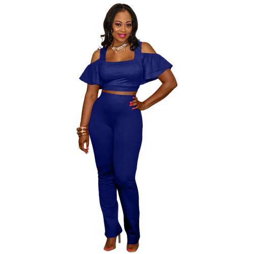 Blue  Fashion casual suit leaky shoulder U-neck flared pants
