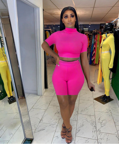 Rose red Women's sexy tight-fitting solid color casual suit
