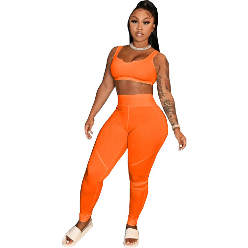 Orange Pure color sexy yoga wear home wear sports two-piece suit