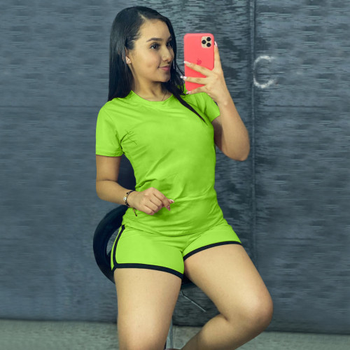 Fluorescent green Pure color sports suit two-piece in stock