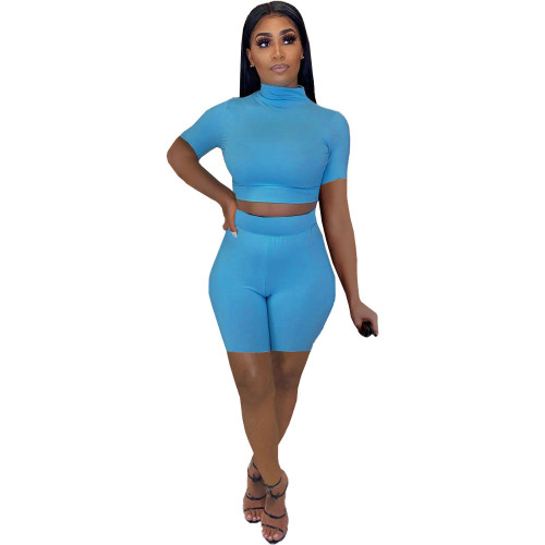 Bule Women's sexy tight-fitting solid color casual suit