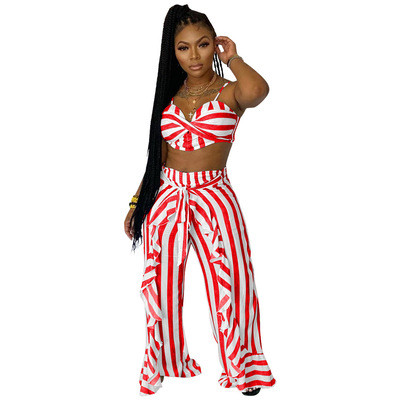 Red  Two-piece set striped print with belt