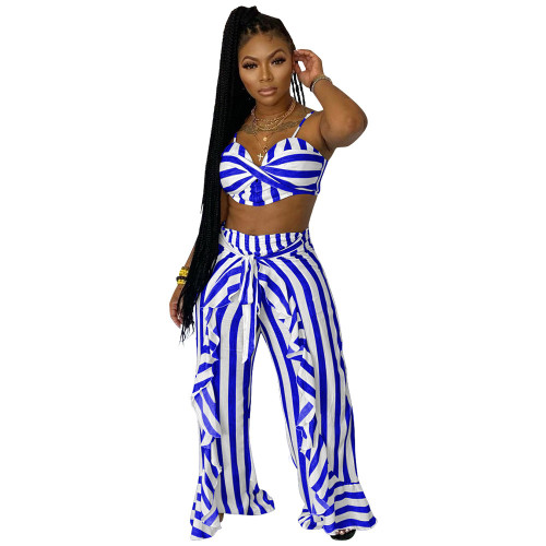 Blue  Two-piece set striped print with belt