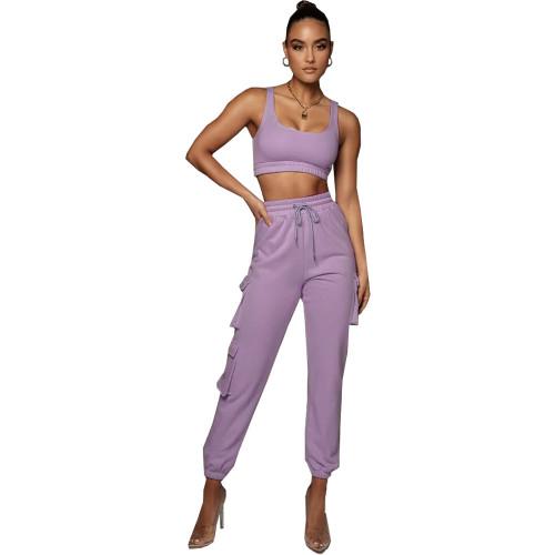 Light purple Solid color multi-pocket vest fashion suit two-piece suit