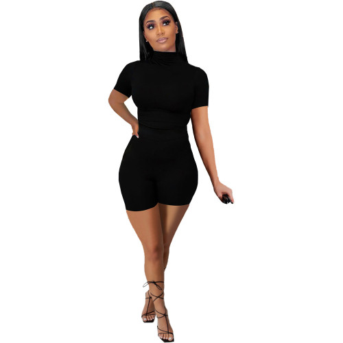 Black Women's sexy tight-fitting solid color casual suit