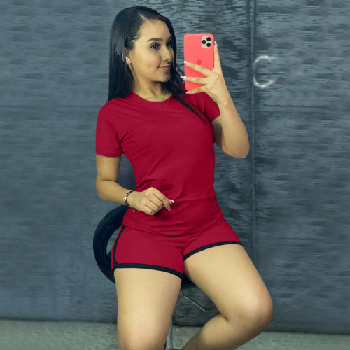 Red  Pure color sports suit two-piece in stock