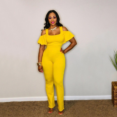 Yellow Fashion casual suit leaky shoulder U-neck flared pants