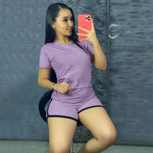 Purple Pure color sports suit two-piece in stock