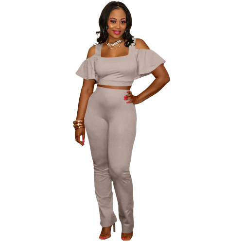 Gray Fashion casual suit leaky shoulder U-neck flared pants