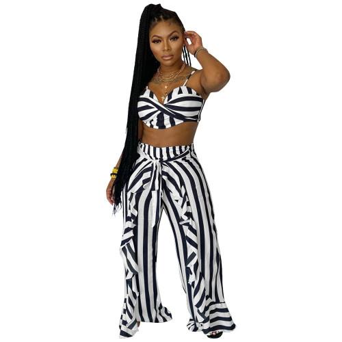 Black  Two-piece set striped print with belt