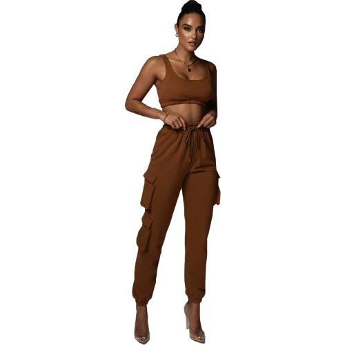 Coffee Solid color multi-pocket vest fashion suit two-piece suit