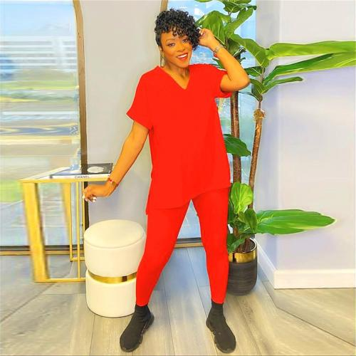 Red Short-sleeved split solid color European and American large size two-piece suit