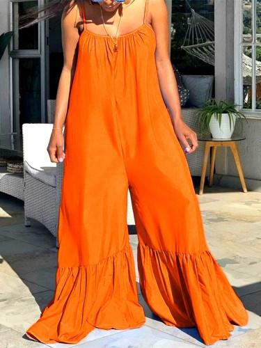 Orange Loose plus size flared pants solid color jumpsuit