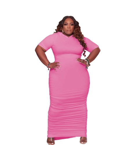 Pink Plus size women's dress with hat pleated solid color dress