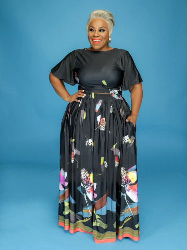 Black  High waist V-neck print two-wear large size two-piece suit