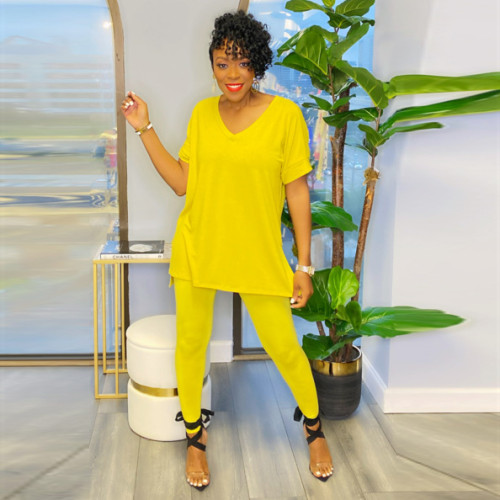 Yellow Short-sleeved split solid color European and American large size two-piece suit