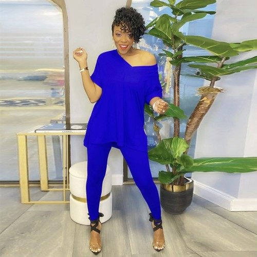 Blue Short-sleeved split solid color European and American large size two-piece suit