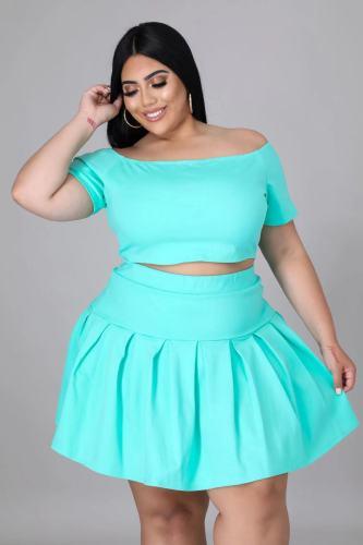 Light blue Two-piece short sleeve pleated skirt