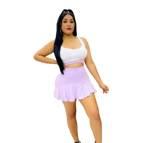 Purple Two-piece fashion casual stitching slim sports vest culottes