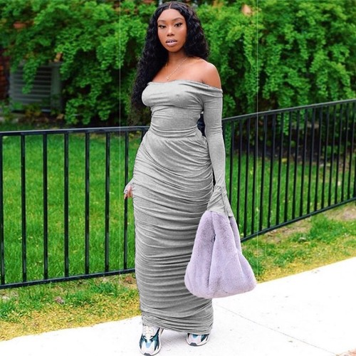 Gray Off-the-shoulder collar, flared sleeves, pleated sexy dress two-piece