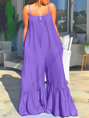 Red Loose plus size flared pants solid color jumpsuit