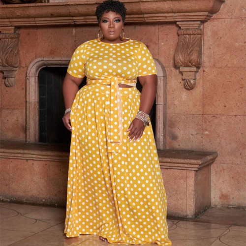 Yellow High waist printed long skirt plus size two-piece suit