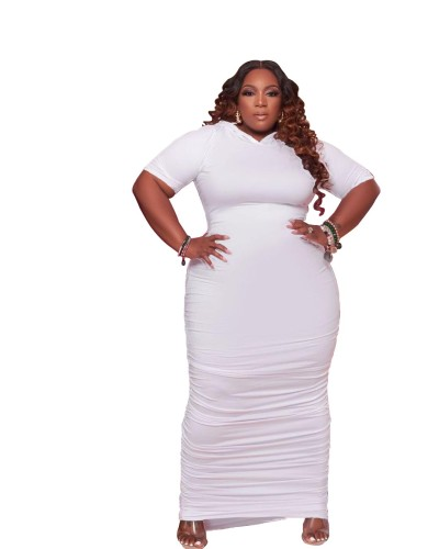 Plus size women's dress with hat pleated solid color dress