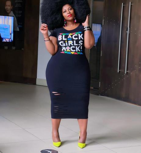 Black Short sleeve plus size women's bag hip dress