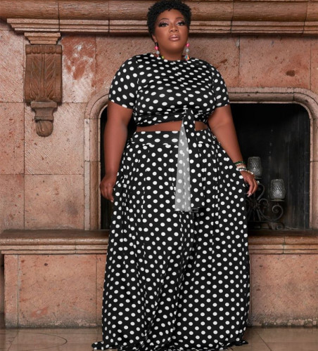Black High waist printed long skirt plus size two-piece suit