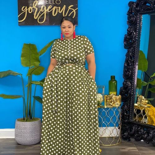 Grass green High waist printed long skirt plus size two-piece suit