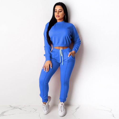 Blue Women's drawstring pants suit