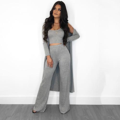 Gray  Sleeve cloak vest pants women's clothing