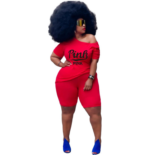 Red Plus size women's fashion casual suit printing two-piece suit