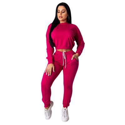 Rose red Women's drawstring pants suit