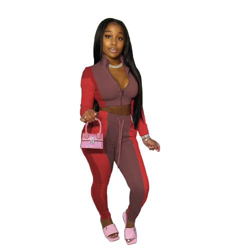 Wine red Women's stitching multicolor sports and leisure trousers two-piece suit