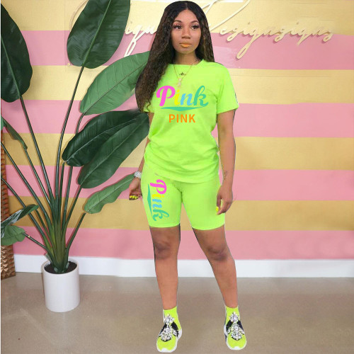 Fluorescent green  Fashionable and breathable printing two-piece suit