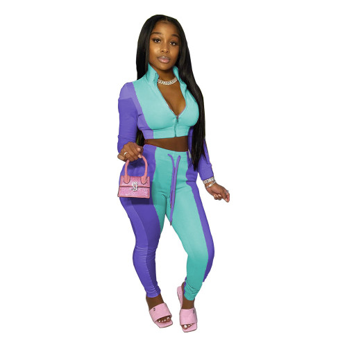 Light blue  Women's stitching multicolor sports and leisure trousers two-piece suit