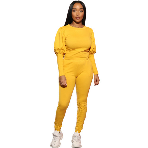 Yellow Puff sleeve pocket tie casual long two-piece suit