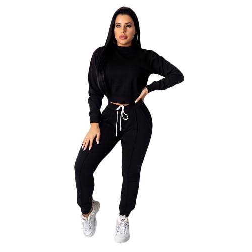 Black Women's drawstring pants suit