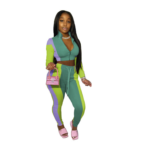 Green  Women's stitching multicolor sports and leisure trousers two-piece suit