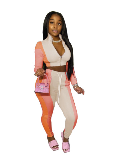 Apricot Women's stitching multicolor sports and leisure trousers two-piece suit